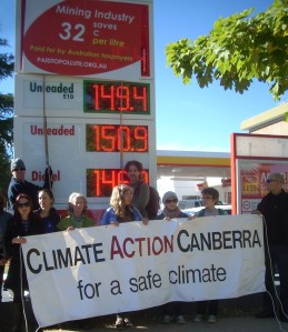 The Canberra community alert motorists to the major fuel discounts being handed out to the mining industry at their expense. This event is part of a series of rolling actions happening across Australia calling for a substantial reduction in the $10 billion dollars in fossil fuel subsidies currently handed to big polluters every year including some of the world's most profitable mining companies. That's the equivalent of giving them $130 million from Canberra alone. We could buy a lot of renewable energy infrastructure with that money  giving us cheap electricity for years to come or fund Gonksi education reforms or the Disability scheme or Denticare.